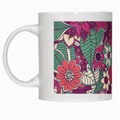 Seamless Floral Pattern Background White Mugs by TastefulDesigns