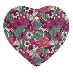 Seamless Floral Pattern Background Heart Ornament (two Sides) by TastefulDesigns