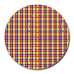 Yellow Blue Red Lines Color Pattern Round Mousepads