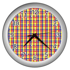 Yellow Blue Red Lines Color Pattern Wall Clocks (silver)  by Simbadda