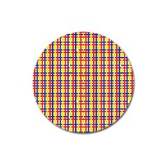 Yellow Blue Red Lines Color Pattern Magnet 3  (round)