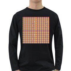Yellow Blue Red Lines Color Pattern Long Sleeve Dark T Shirts