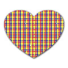 Yellow Blue Red Lines Color Pattern Heart Mousepads