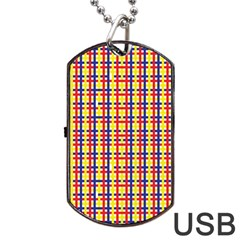 Yellow Blue Red Lines Color Pattern Dog Tag Usb Flash (two Sides) by Simbadda