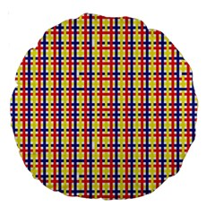 Yellow Blue Red Lines Color Pattern Large 18  Premium Round Cushions