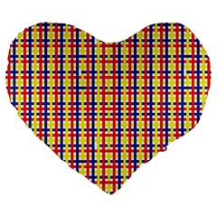 Yellow Blue Red Lines Color Pattern Large 19  Premium Heart Shape Cushions by Simbadda