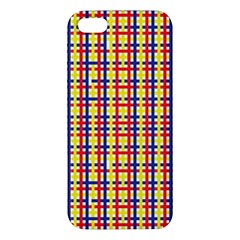 Yellow Blue Red Lines Color Pattern Apple Iphone 5 Premium Hardshell Case by Simbadda