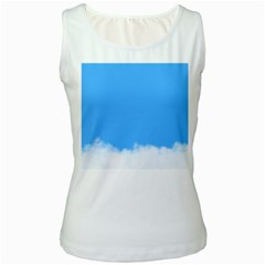Blue Sky Clouds Day Women s White Tank Top