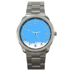 Blue Sky Clouds Day Sport Metal Watch by Simbadda