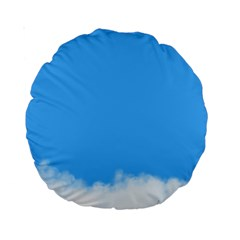 Blue Sky Clouds Day Standard 15  Premium Round Cushions by Simbadda