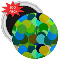 Green Aqua Teal Abstract Circles 3  Magnets (100 Pack)