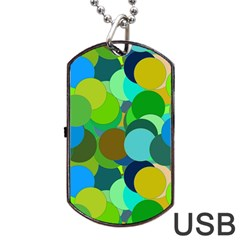 Green Aqua Teal Abstract Circles Dog Tag Usb Flash (one Side)