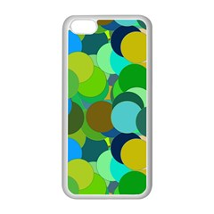 Green Aqua Teal Abstract Circles Apple Iphone 5c Seamless Case (white)