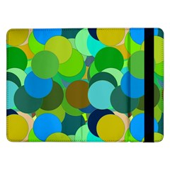 Green Aqua Teal Abstract Circles Samsung Galaxy Tab Pro 12 2  Flip Case by Simbadda