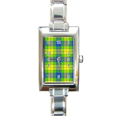 Spring Plaid Yellow Rectangle Italian Charm Watch by Simbadda