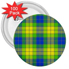 Spring Plaid Yellow 3  Buttons (100 Pack)