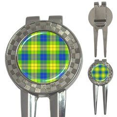 Spring Plaid Yellow 3 In 1 Golf Divots by Simbadda
