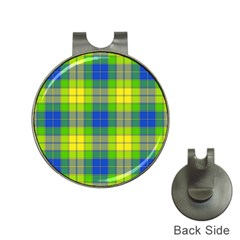 Spring Plaid Yellow Hat Clips With Golf Markers by Simbadda