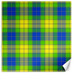 Spring Plaid Yellow Canvas 16  X 16   by Simbadda