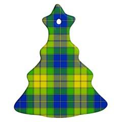 Spring Plaid Yellow Christmas Tree Ornament (two Sides) by Simbadda