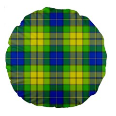 Spring Plaid Yellow Large 18  Premium Round Cushions by Simbadda