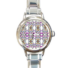 Floral Ornament Baby Girl Design Round Italian Charm Watch by Simbadda