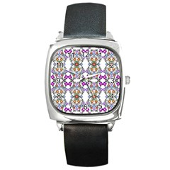 Floral Ornament Baby Girl Design Square Metal Watch by Simbadda