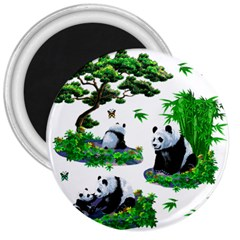 Cute Panda Cartoon 3  Magnets by Simbadda