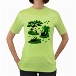 Cute Panda Cartoon Women s Green T-Shirt Front
