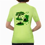Cute Panda Cartoon Women s Green T-Shirt Back