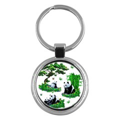 Cute Panda Cartoon Key Chains (round)  by Simbadda