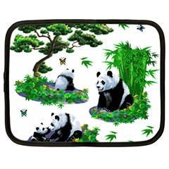 Cute Panda Cartoon Netbook Case (large) by Simbadda