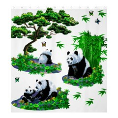 Cute Panda Cartoon Shower Curtain 66  X 72  (large)  by Simbadda