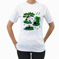 Cute Panda Cartoon Women s T Shirt (white)  by Simbadda