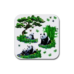 Cute Panda Cartoon Rubber Square Coaster (4 Pack)  by Simbadda