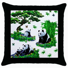 Cute Panda Cartoon Throw Pillow Case (black) by Simbadda
