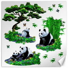 Cute Panda Cartoon Canvas 16  X 16   by Simbadda