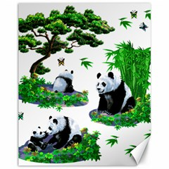 Cute Panda Cartoon Canvas 11  X 14   by Simbadda