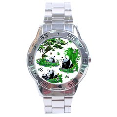 Cute Panda Cartoon Stainless Steel Analogue Watch