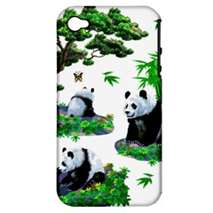 Cute Panda Cartoon Apple Iphone 4/4s Hardshell Case (pc+silicone) by Simbadda