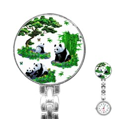 Cute Panda Cartoon Stainless Steel Nurses Watch by Simbadda