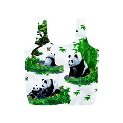 Cute Panda Cartoon Full Print Recycle Bags (s)  by Simbadda
