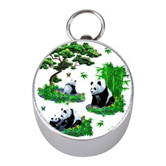 Cute Panda Cartoon Mini Silver Compasses by Simbadda