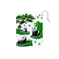 Cute Panda Cartoon Drawstring Pouches (small)  by Simbadda