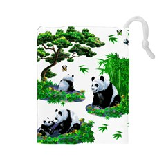 Cute Panda Cartoon Drawstring Pouches (large)  by Simbadda