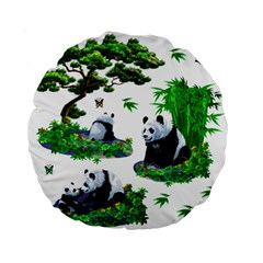Cute Panda Cartoon Standard 15  Premium Flano Round Cushions by Simbadda