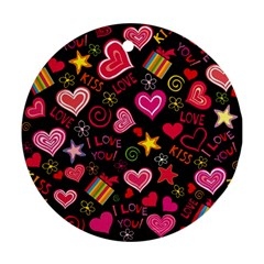 Love Hearts Sweet Vector Ornament (round) by Simbadda