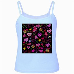 Love Hearts Sweet Vector Baby Blue Spaghetti Tank by Simbadda