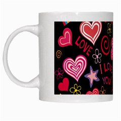 Love Hearts Sweet Vector White Mugs