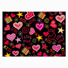 Love Hearts Sweet Vector Large Glasses Cloth (2 Side) by Simbadda